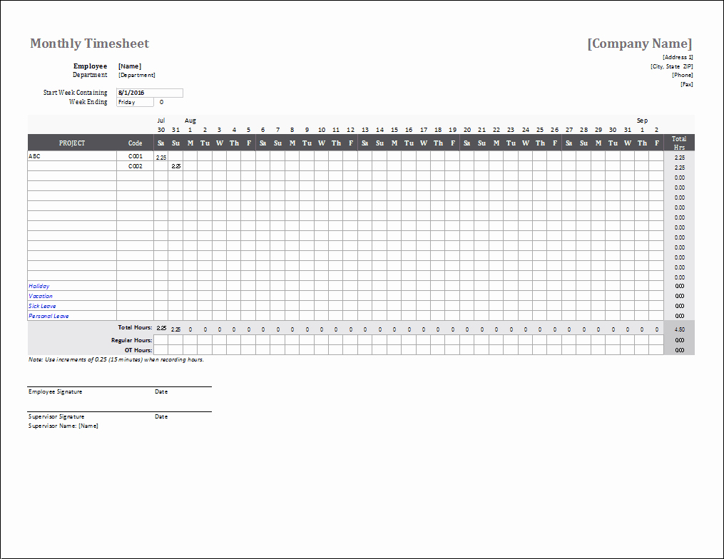 Weekly Employee Timesheet Template Inspirational Monthly Timesheet Template for Excel