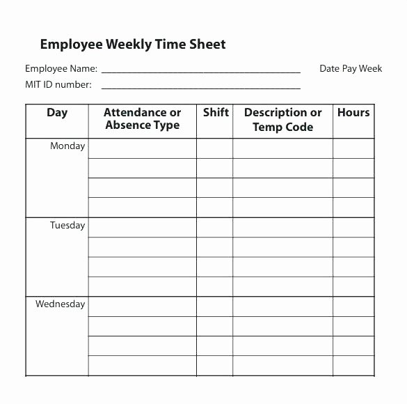Weekly Employee Timesheet Template Inspirational Multiple Employee Weekly Timesheet – Ooojo