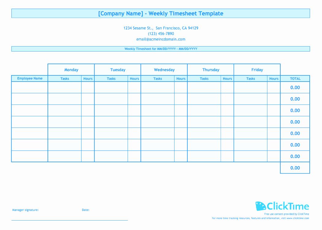Weekly Employee Timesheet Template Inspirational Weekly Timesheet Template for Multiple Employees
