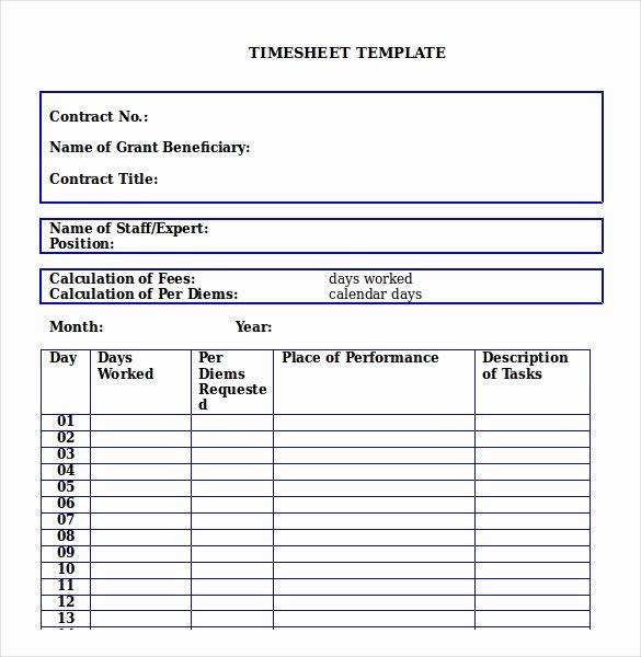 Weekly Employee Timesheet Template Lovely 23 Monthly Timesheet Templates Free Sample Example