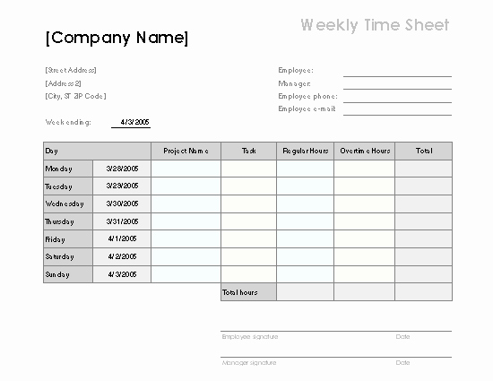 Weekly Employee Timesheet Template Lovely 70 Free Schedule & Planner Templates [ Word Excel