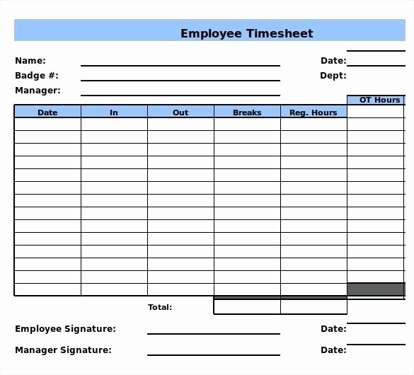 Weekly Employee Timesheet Template Lovely Free Weekly Timesheet Template Word with Breaks Time