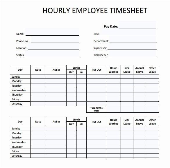 Weekly Employee Timesheet Template New 22 Employee Timesheet Templates – Free Sample Example