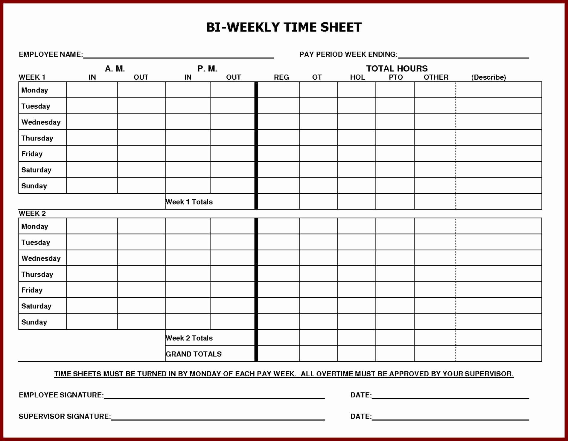 Weekly Employee Timesheet Template New Daily Time Sheet Printable Printable 360 Degree
