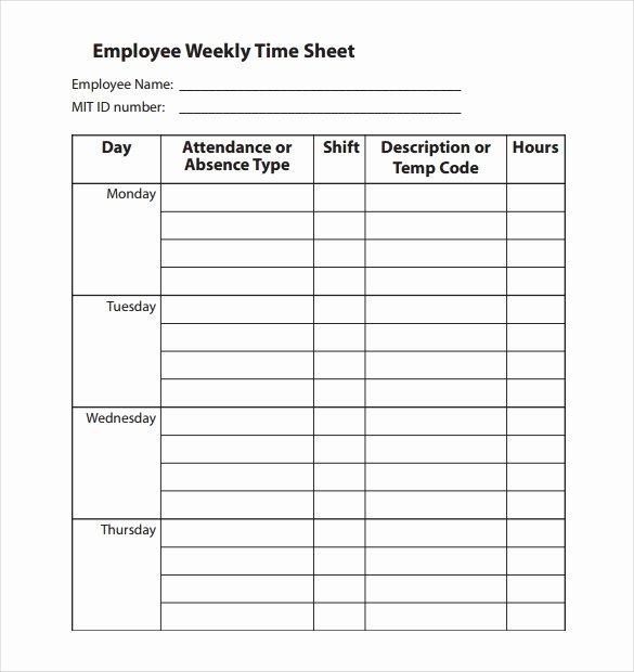 Weekly Employee Timesheet Template Unique 22 Employee Timesheet Templates – Free Sample Example