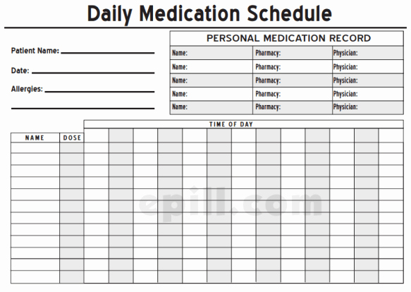 Weekly Medication Schedule Template Fresh 6 Medication Intake Schedule Templates – Word Templates