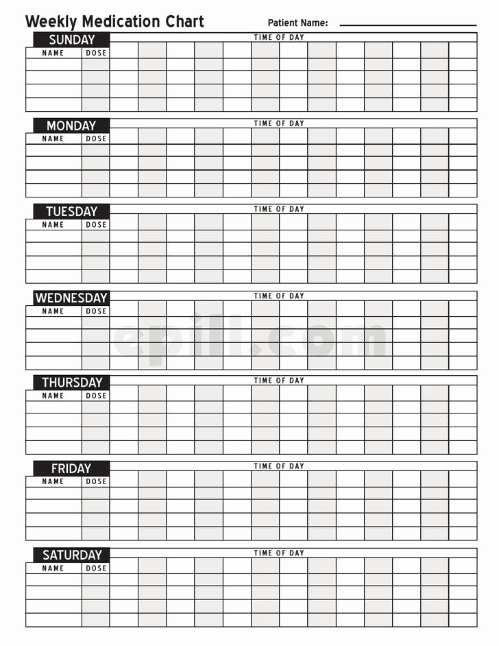 Weekly Medication Schedule Template Fresh 8 Medication Schedule Templates Free Download