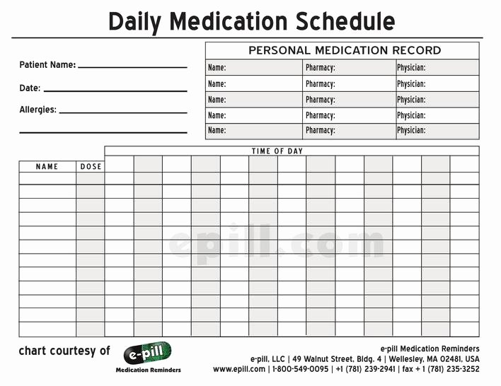 Weekly Medication Schedule Template Fresh Download Free Personal Daily Medication Schedule Template