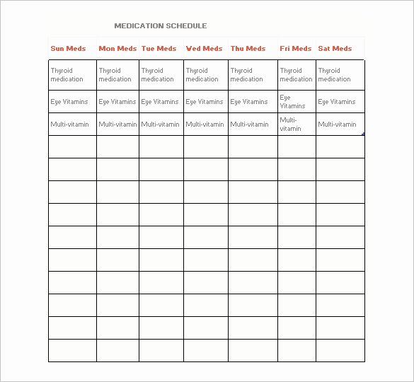 Weekly Medication Schedule Template New Medication Schedule Template 14 Free Word Excel Pdf