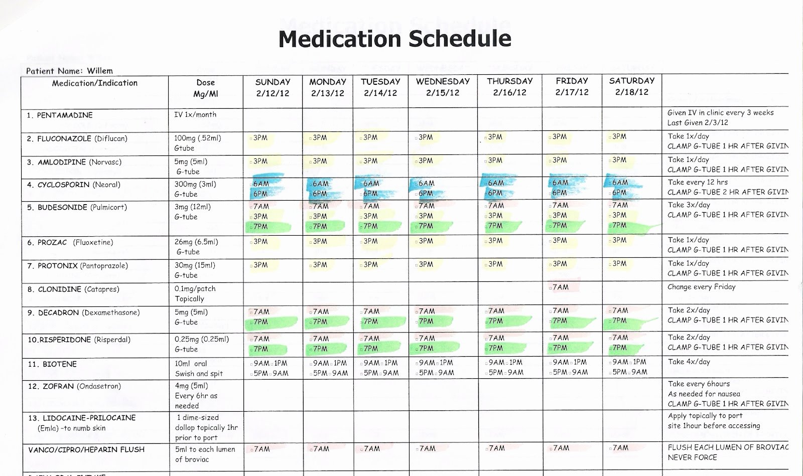 Weekly Medication Schedule Template New Willem February 2012