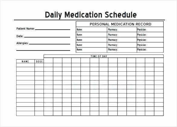 Weekly Medication Schedule Template Unique Daily Medication Chart Sample Download Template Free