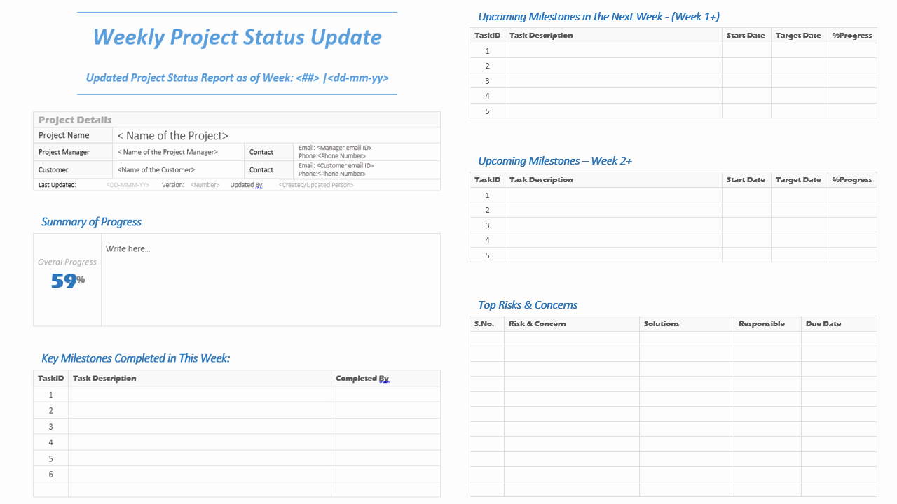 Weekly Project Status Report Template Fresh Weekly Project Status Update Template Analysistabs