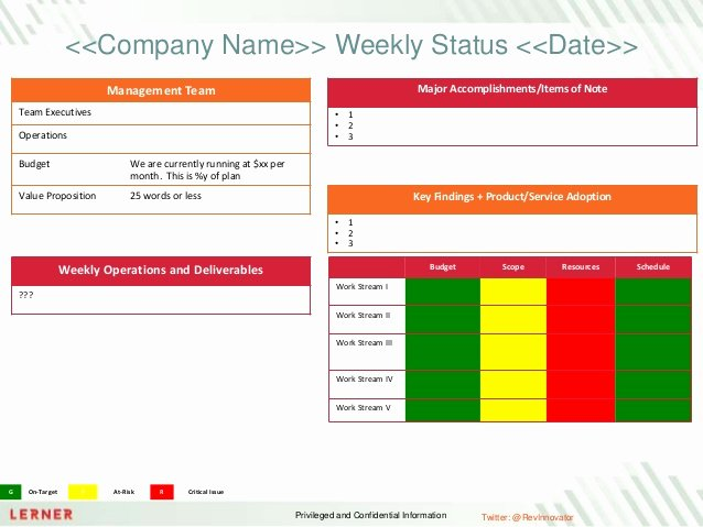 Weekly Project Status Report Template Inspirational Executive Status Report Template