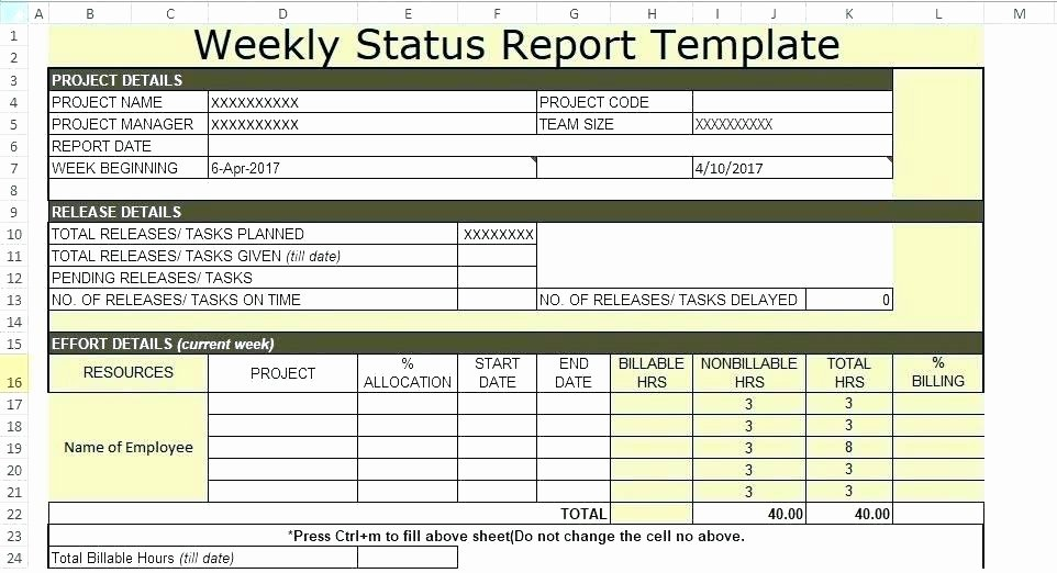 Weekly Project Status Report Template New Microsoft Fice Weekly Report Template Excel Status the