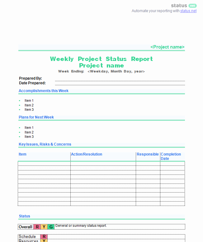 Weekly Project Status Report Template Unique 6 Awesome Weekly Status Report Templates
