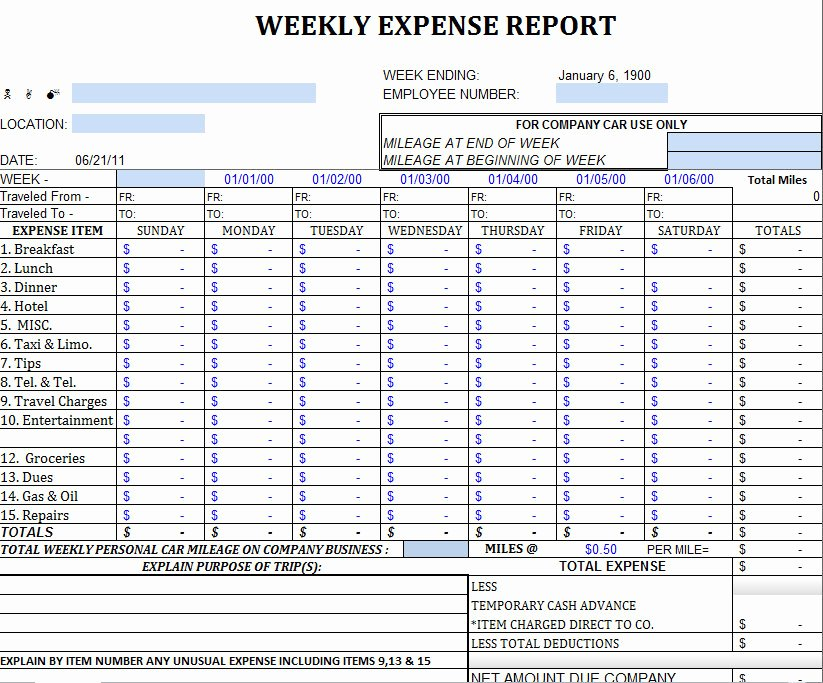 Weekly Report Template Excel Awesome Excel Expense Report Template