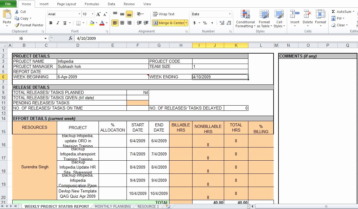 Weekly Report Template Excel Awesome Weekly Project Status Report Template Excel Tmp – soohongp