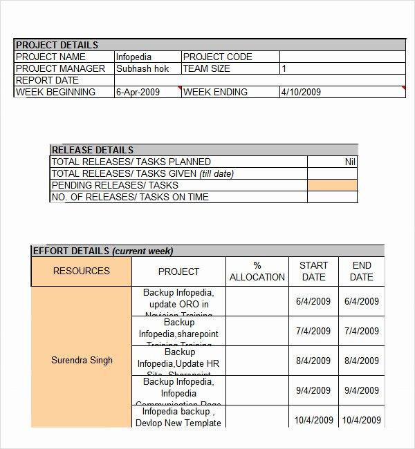 Weekly Report Template Excel Best Of Weekly Status Report Template