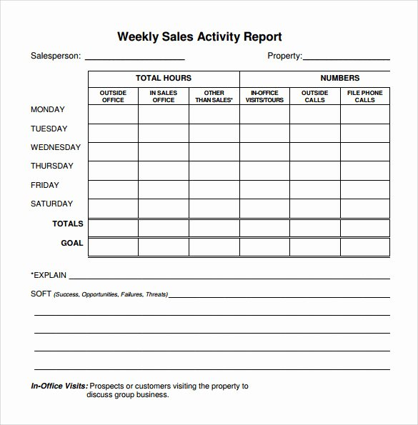 Weekly Sales Activity Report Template Best Of 22 Sample Weekly Report Templates – Pdf Word Pages