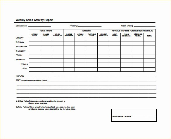 Weekly Sales Activity Report Template Inspirational 25 Sales Activity Report Templates Word Excel Pdf