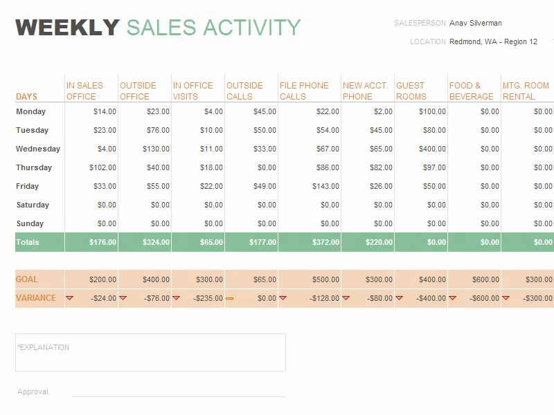 Weekly Sales Activity Report Template Lovely Daily Sales Report Template format Example