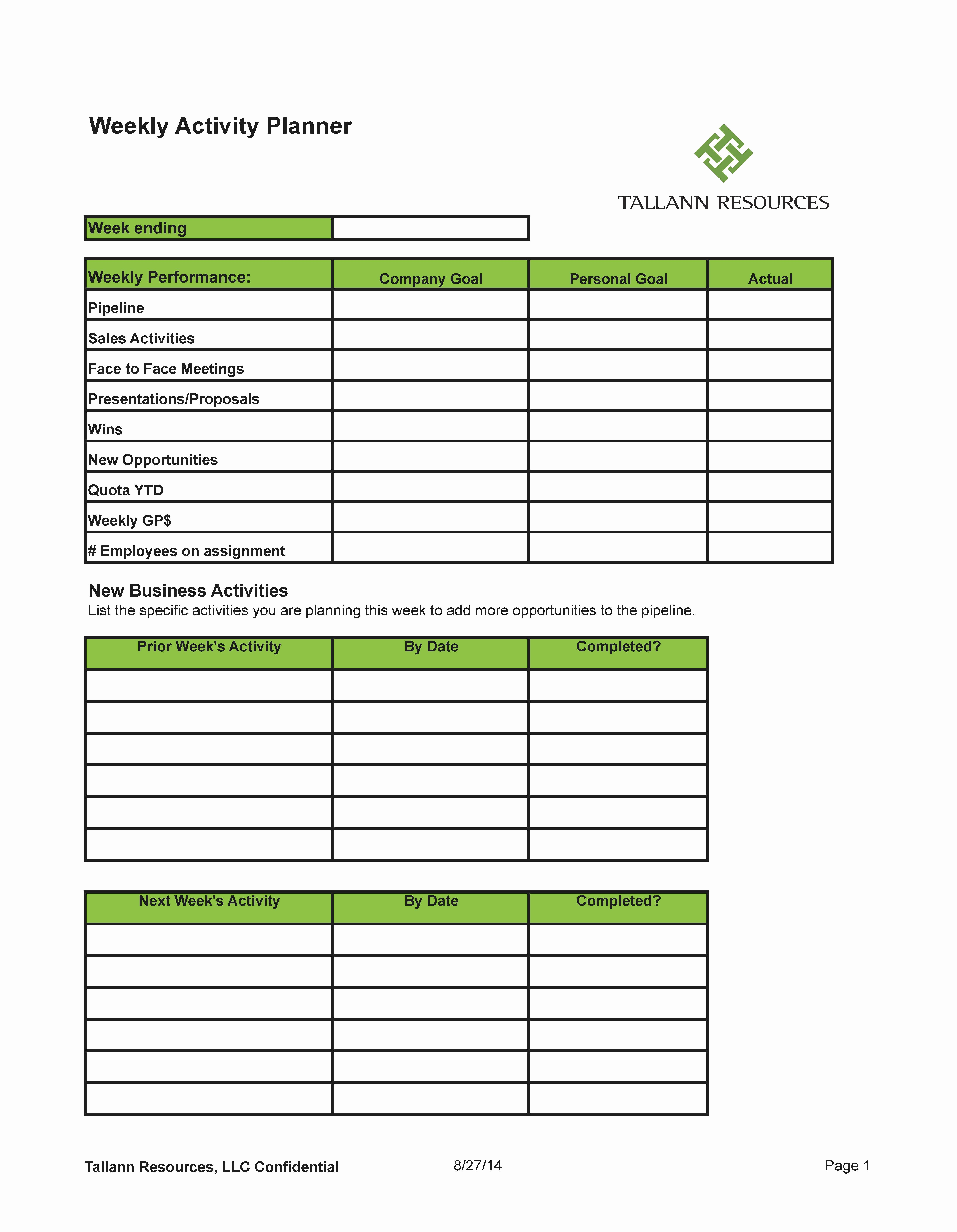 Weekly Sales Plan Template Fresh Plan Your Week for Sales Success