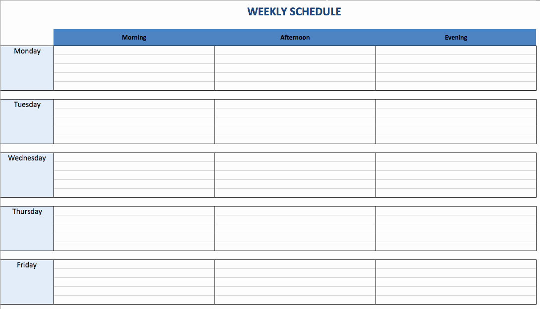 Weekly Sales Plan Template New Weekly Schedule Template Excel