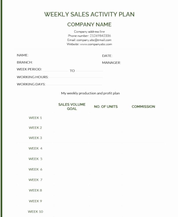 Weekly Sales Plan Template Unique 9 Weekly Sales Plan Templates Pdf Word Apple Pages