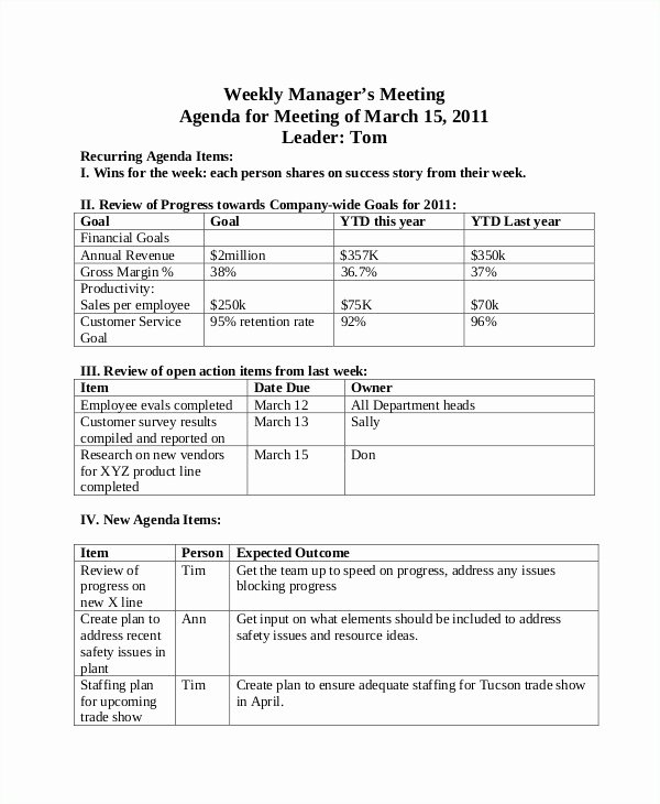 Weekly Sales Plan Template Unique Weekly Agenda Templates 10 Free Word Pdf format