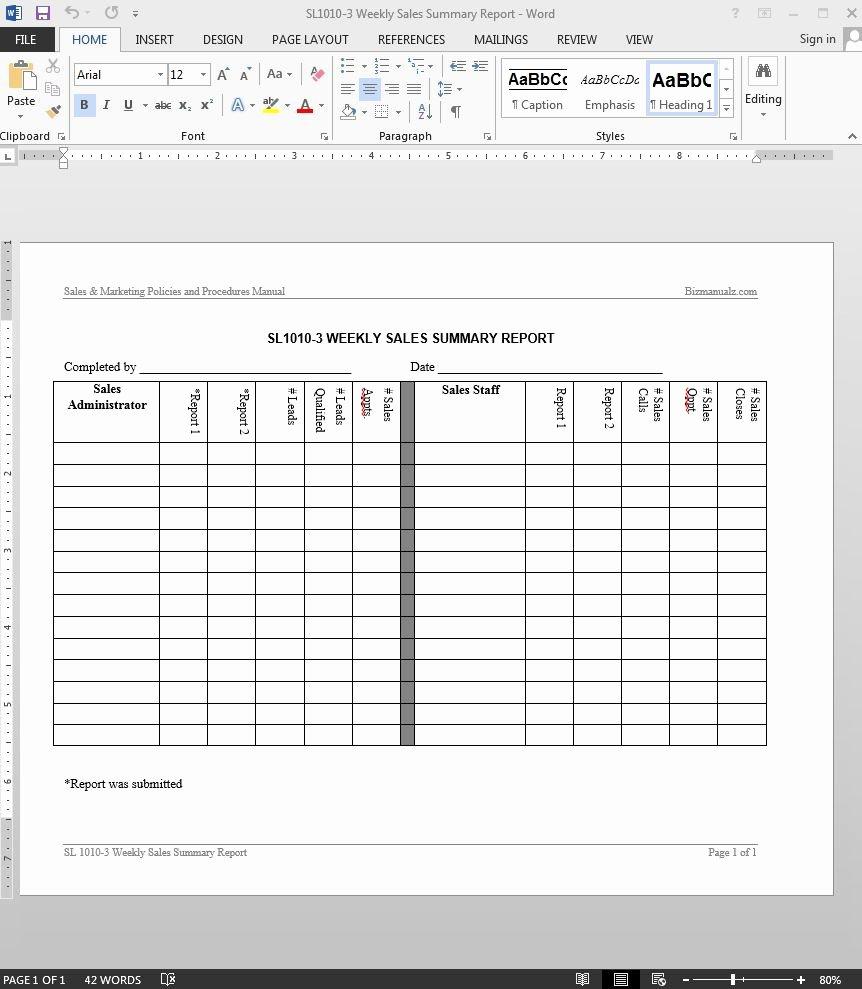 Weekly Sales Report Template Elegant Weekly Sales Summary Report Template
