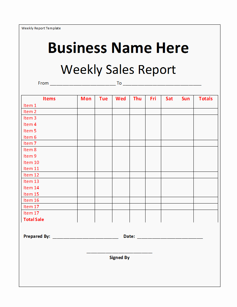Weekly Sales Report Template Excel Inspirational Weekly Report Template Free formats Excel Word
