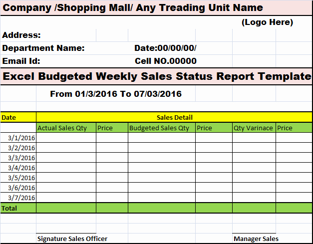 Weekly Sales Report Template Excel Unique Collection Of Free Report formats and Examples