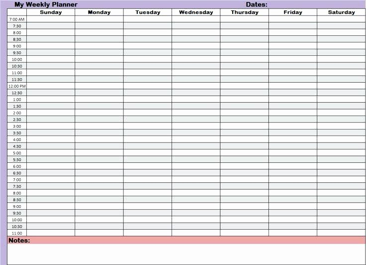 Weekly Schedule Template with Hours Lovely 7 Day 24 Hour Calendar Printable Template