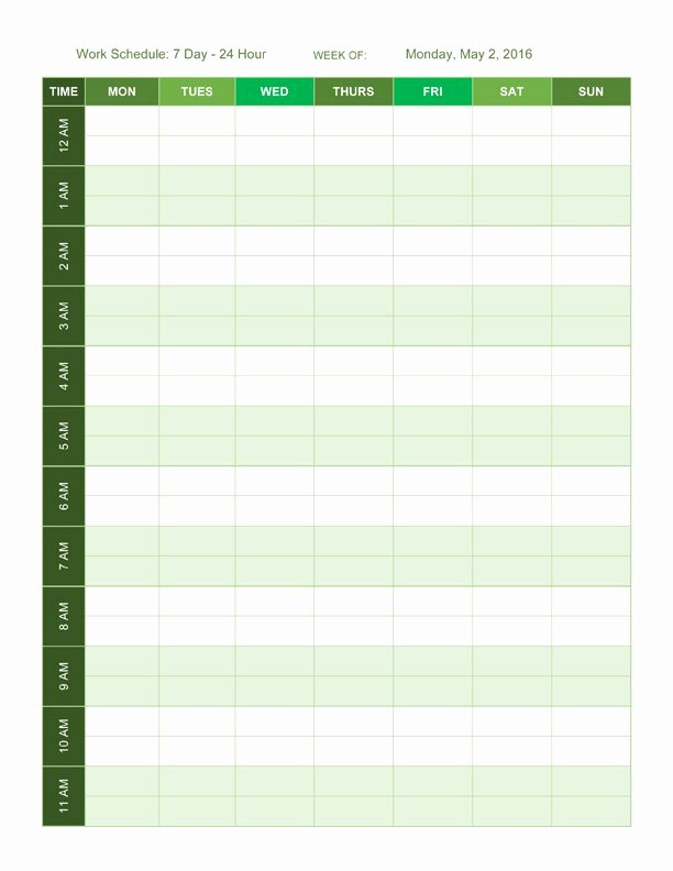 Weekly Schedule Template with Hours Luxury Free Work Schedule Templates for Word and Excel