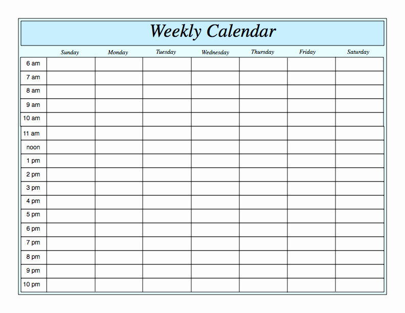 Weekly Schedule Template with Hours Luxury Weekly Calendar by Hour