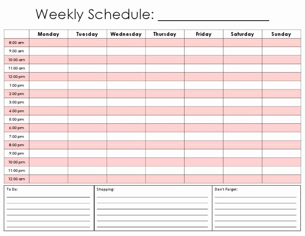 Weekly Schedule Template with Hours Unique Daily Calendar
