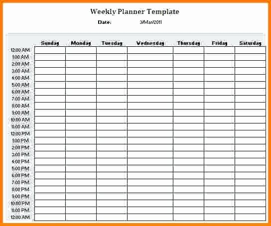 Weekly Schedule Template with Hours Unique Hour Weekly Calendar Template Schedule 24 Hr
