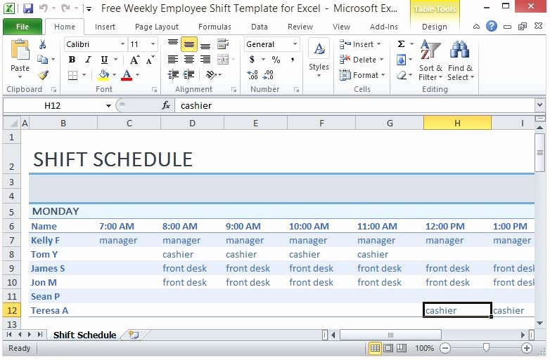 Weekly Staff Schedule Template Beautiful Free Weekly Employee Shift Template for Excel