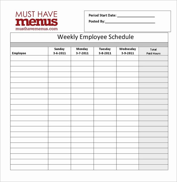 Weekly Staff Schedule Template Best Of Restaurant Schedule Template 11 Free Excel Word