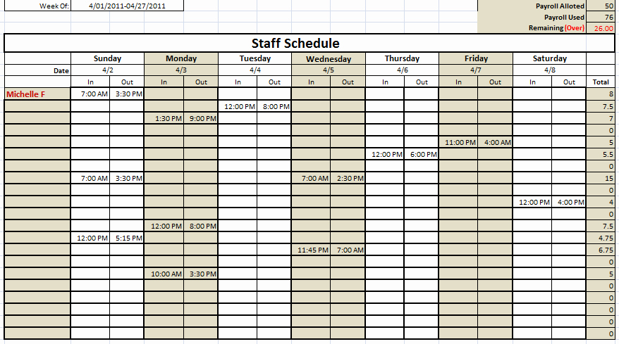 Weekly Staff Schedule Template Lovely Work Schedule Template