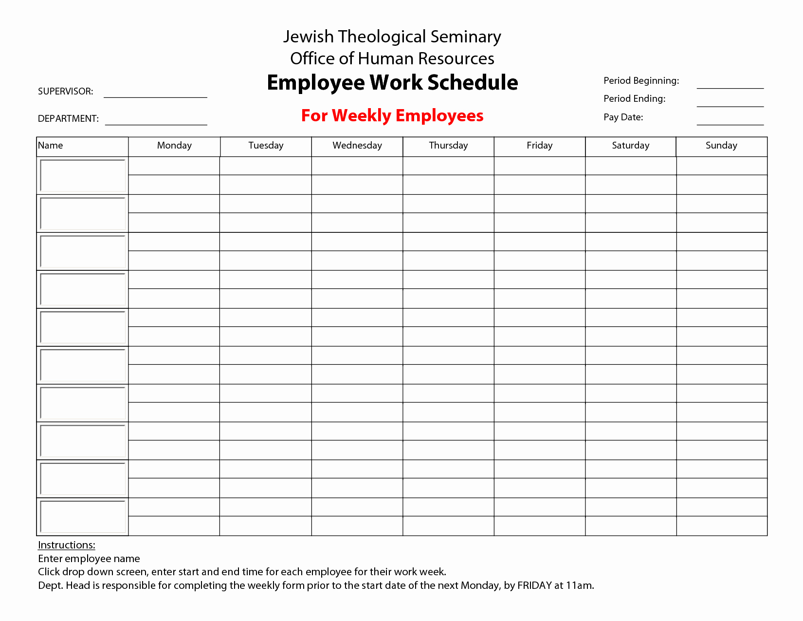 Weekly Staff Schedule Template Unique 20 Hour Work Week Template