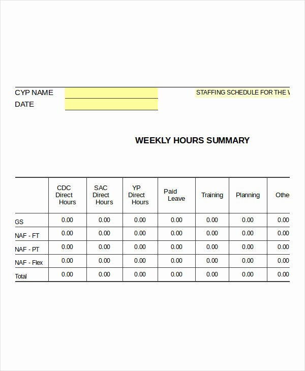 Weekly Staffing Schedule Template Best Of Excel Weekly Schedule Templates 8 Free Excel Documents