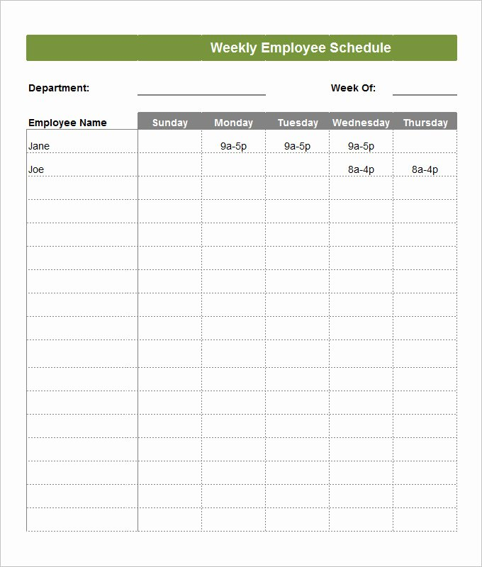 Weekly Staffing Schedule Template Elegant Employee Schedule Template 5 Free Word Excel Pdf