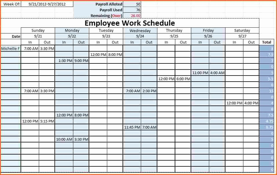 Weekly Staffing Schedule Template Inspirational 6 Weekly Staff Schedule Template Excel Bud Template