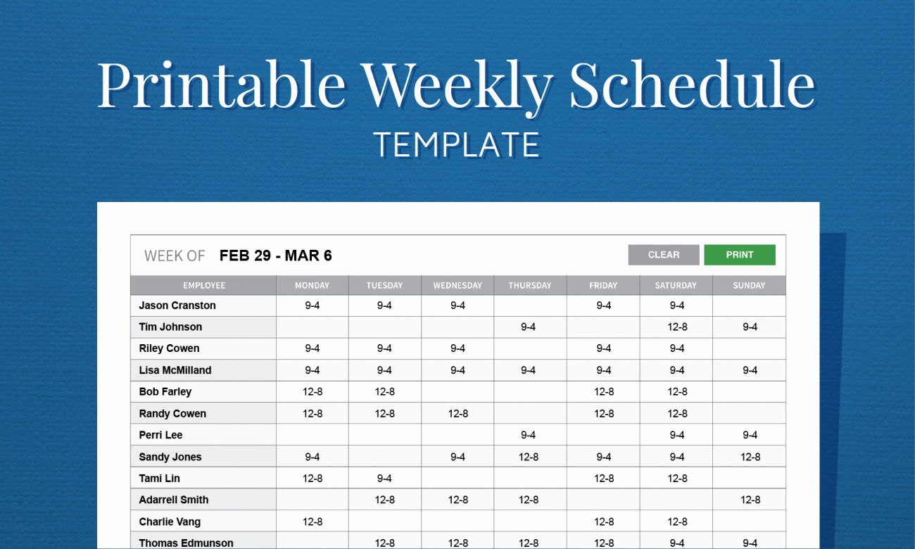Weekly Staffing Schedule Template New Free Printable Weekly Work Schedule Template for Employee