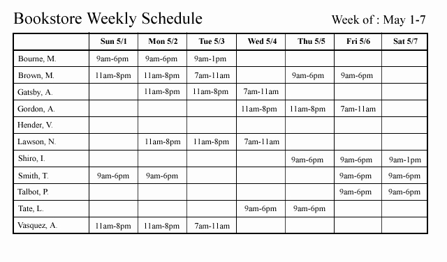Weekly Staffing Schedule Template Unique Schedule Workplace