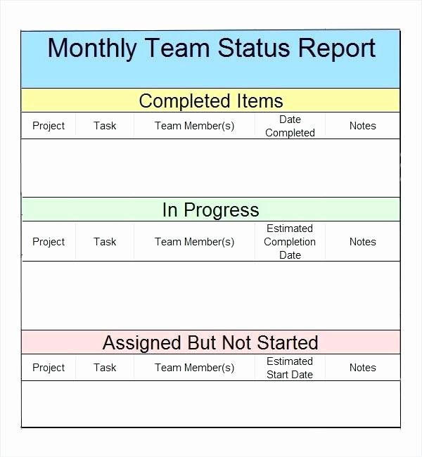 Weekly Status Report Template Excel Fresh Monthly Productivity Report Template