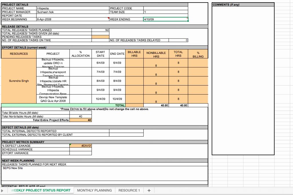 Weekly Status Report Template Excel Fresh Weekly Project Status Report Template Excel
