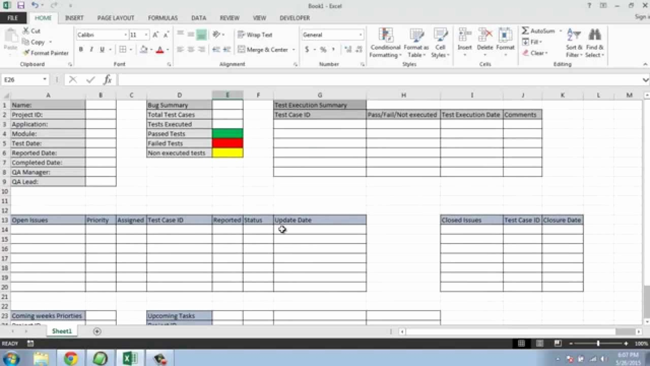 Weekly Status Report Template Excel Inspirational software Testing Weekly Status Report Template