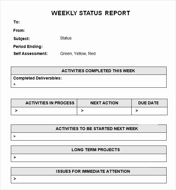Weekly Status Report Template Excel Inspirational Weekly Report Template